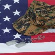 Us marine camouflage cap with blank dog tag on us flag background — Stock Photo