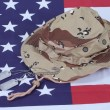 US stars and stripes with Camouflage Hat and Dog Tags — Stock Photo
