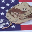 US stars and stripes with Camouflage Hat and Dog Tags — Stock Photo #9772496