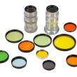 Set of photofilters and lenses — Stock Photo
