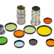 Stock Photo: Set of photofilters and lenses