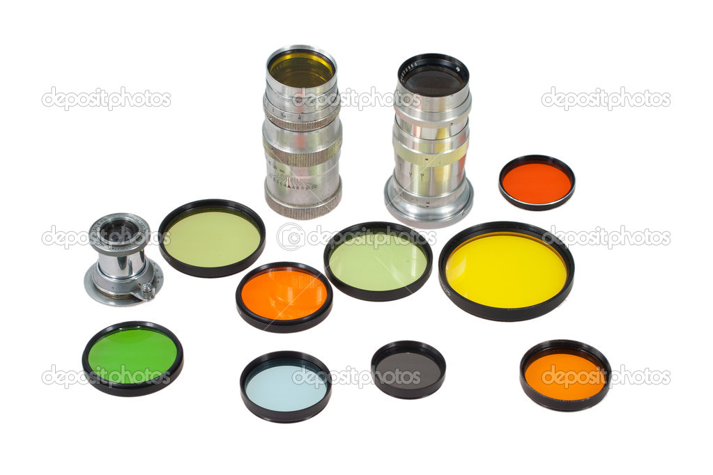 Set of photofilters and lenses isolated on a white background — Stock Photo #9772568