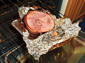 Christmas Ham Unwrapped — Stock Photo