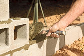 Troweling the Mortar — Stock Photo