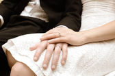 The Hands of Newly Weds — Stock Photo