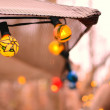 String of Lights of Patio Umbrella — Stock Photo