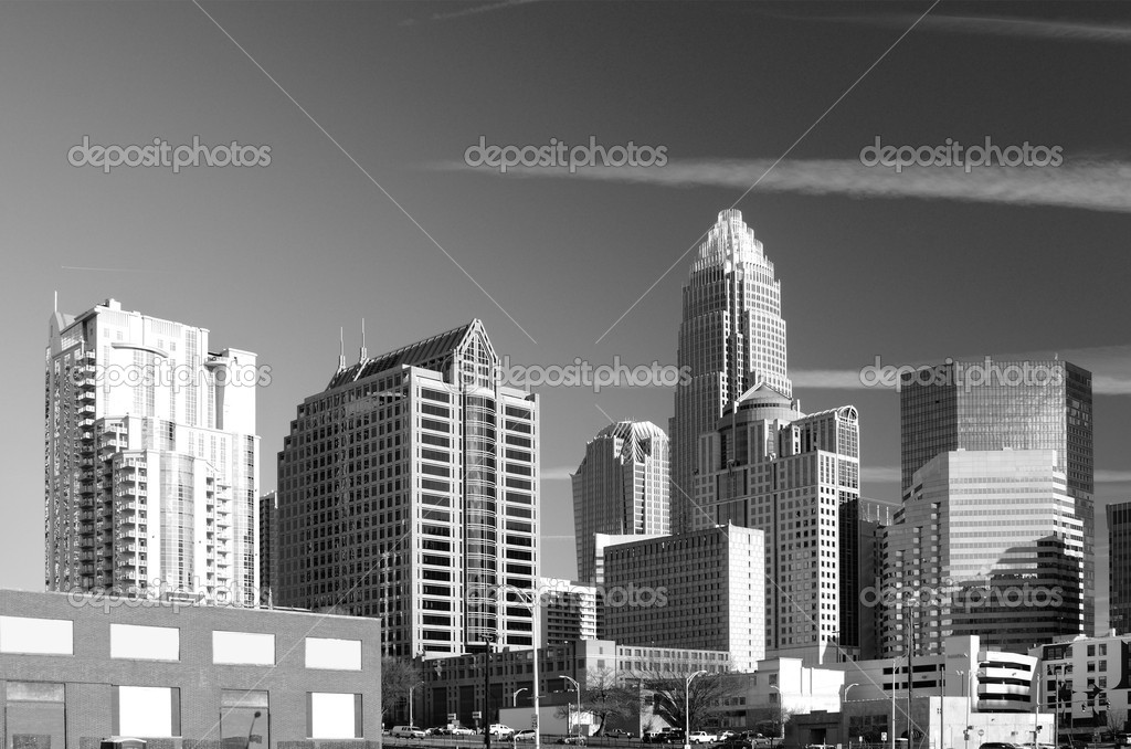 Skyline of Uptown, the Financial District of Charlotte, North Carolina.  Stock Photo #9400403