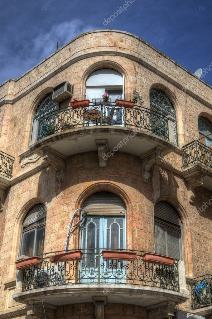 Balconies a building in Jeruslaem, Israel. — Stock Photo #9400695