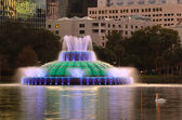 Fountain in City Park Lake — Stock Photo