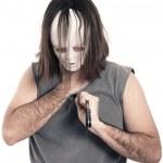 děsivý horor muž pobodal nožem — Stock fotografie
