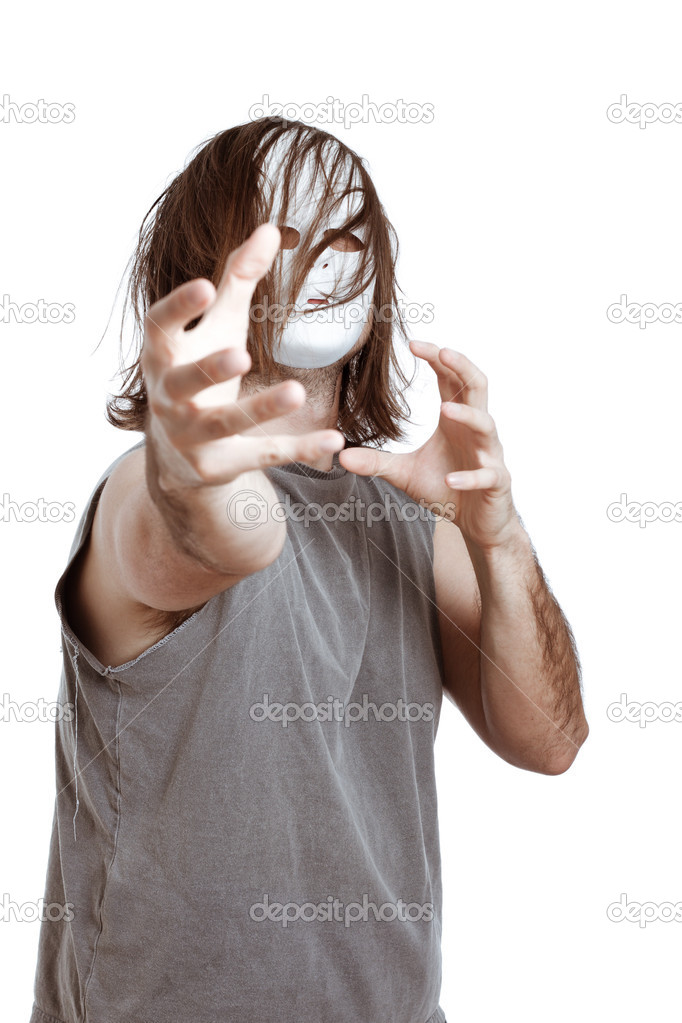 Insane horror masked man gesturing, isolated on white background. — Stock Photo #10096081