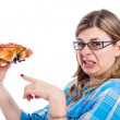 Disgusted woman with crab — Stock Photo