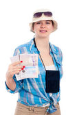 šťastný poutník žena s pas — Stock fotografie