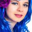Beautiful woman in blue wig — Stock Photo