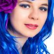 Beautiful woman in blue wig — Stock Photo