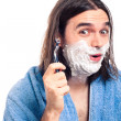Funny man shaving — Stock Photo #10541288
