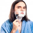 Man shaving after bath — Stock Photo