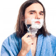Man shaving after bath — Stock Photo #10541295