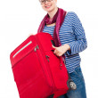 Happy woman with luggage — Stock Photo #10679697