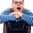Tired traveller woman yawning — Stock Photo #10679761