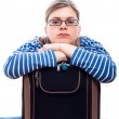 Bored traveller tourist woman with luggage — Stock Photo #10679794