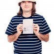 Happy traveller tourist man with passport - Stock Photo