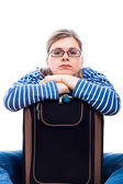 Bored traveller tourist woman with luggage — Stock Photo