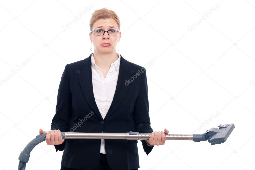 Unhappy desperate businesswoman with vacuum cleaner, isolated on white background.  Stock Photo #10679944