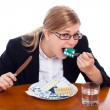 Woman eating drugs, tablets and pills — Stock Photo