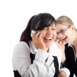 Happy business women on the phone — Stock Photo