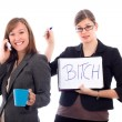 Business women colleagues competing — Stock Photo