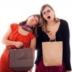 Women tired of shopping — Stock Photo