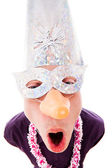 Funny man wearing party mask — Foto Stock