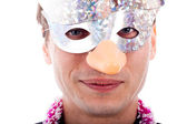 Man wearing party mask — Stock Photo