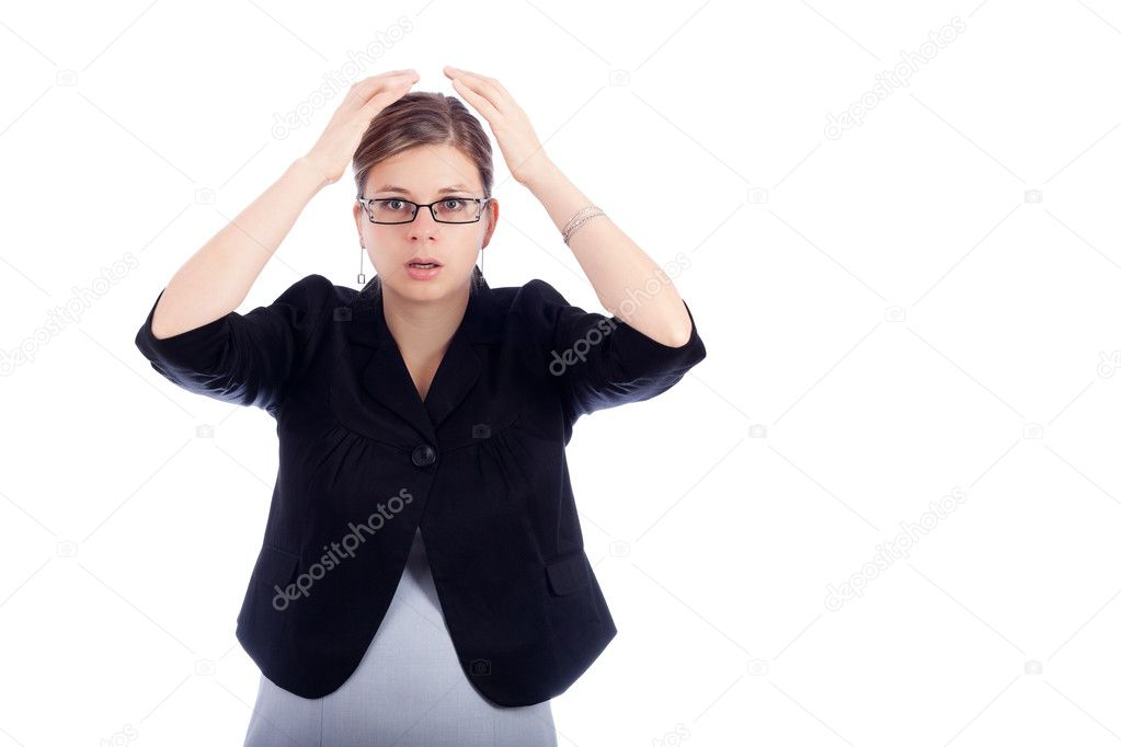Shocked young business woman, isolated on white background with large copy space. — Stock Photo #8532601