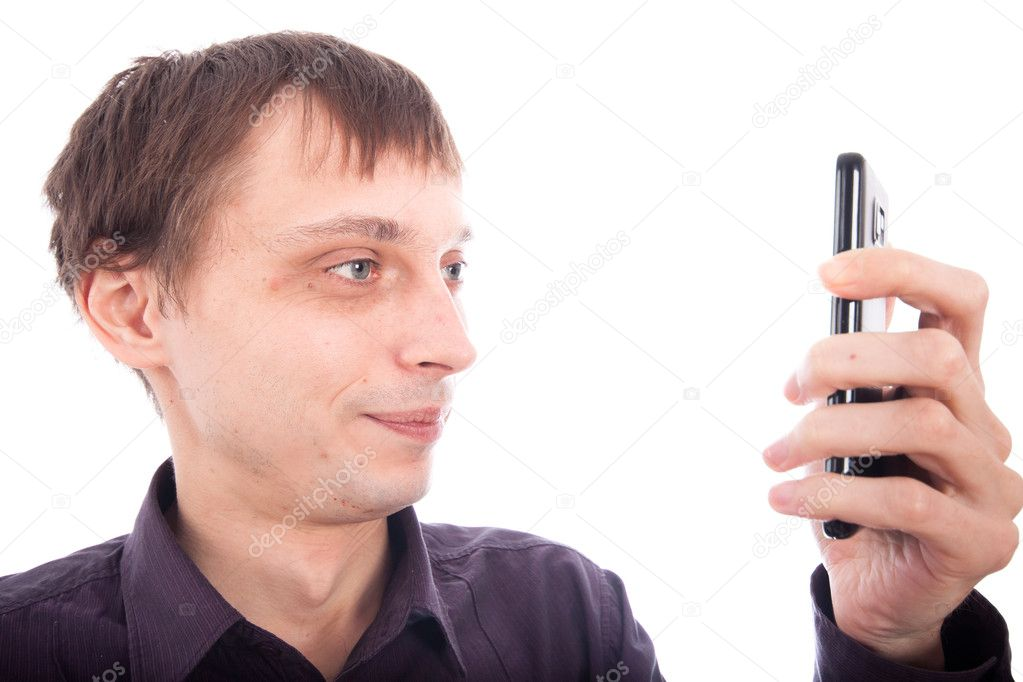 Weirdo man looking at cellphone, isolated on white background. — Stock Photo #8532984