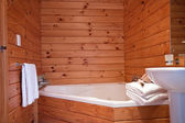 Bathroom interior of mountain lodge apartment — Stock Photo