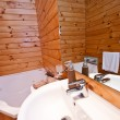 Wooden bathroom interior in mountain lodge — Stock Photo #8869959