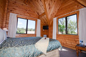 Interior of mountain wooden lodge — Stock Photo