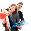 Happy busy business women team — Stock Photo