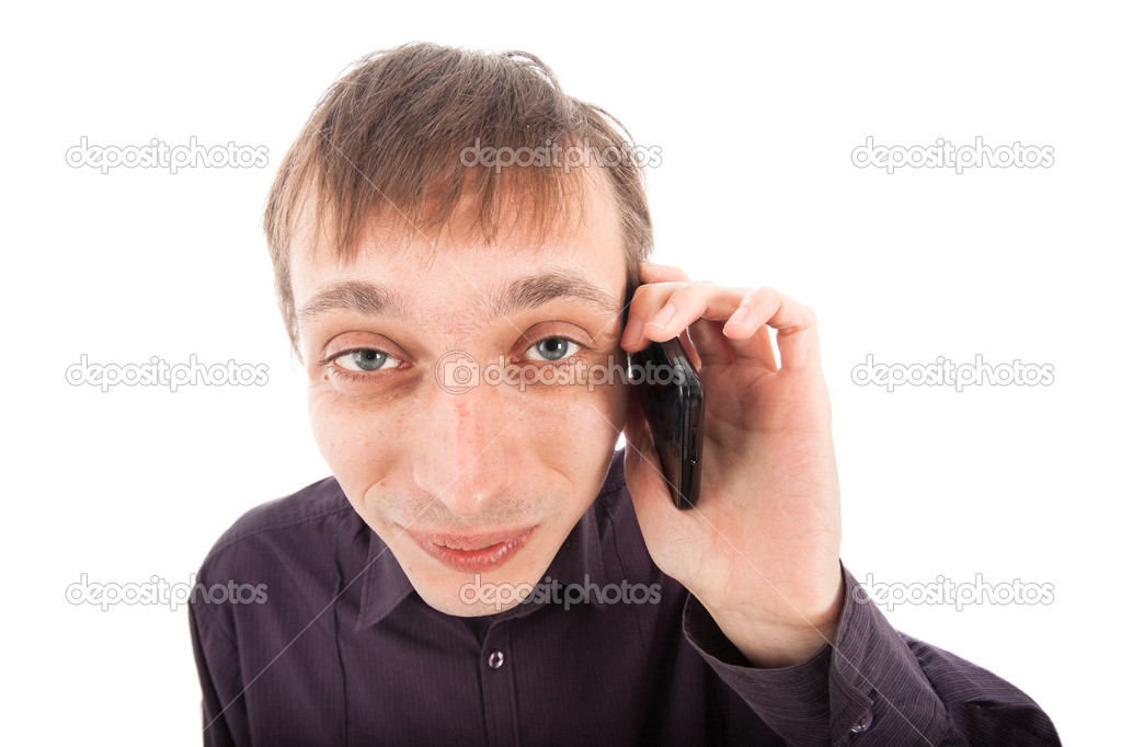 Happy weirdo nerd man on the phone, isolated on white background. — Stock Photo #9235540