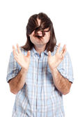 Funny man with long hair — Stock Photo