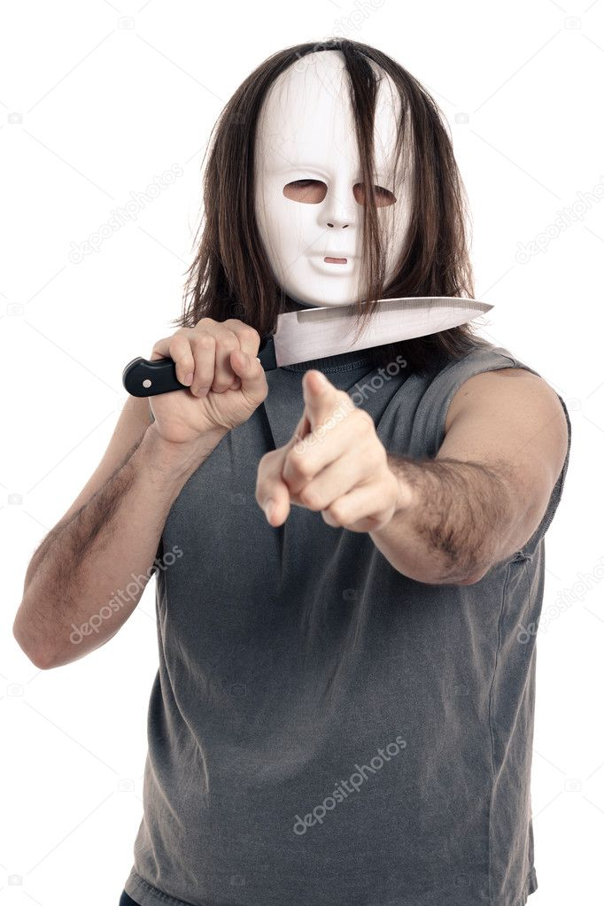 Scary horror man holding knife and pointing at you, isolated on white background. — Stock Photo #9657810
