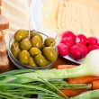 Fresh vegetable, olives, cheese and bread - Foto de Stock