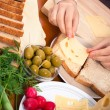 Cheese sandwiches preparation — Stockfoto