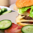Stock Photo: Homemade hamburger detail