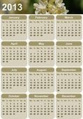 Vertical oriented calendar for 2013 — Stock Vector