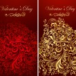 Holiday invitation decorated gold patterns — Imagen vectorial