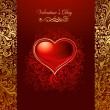 Royalty-Free Stock Vector Image: Beautiful card with golden heart