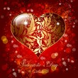 Beautiful card with golden heart — Imagen vectorial